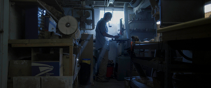 Lee in his workshop