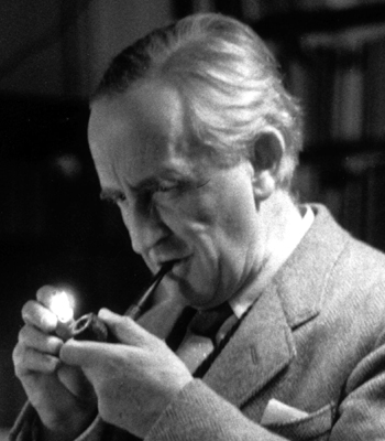 J. R. R. Tolkien Smoking a Pipe