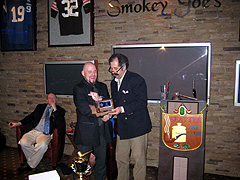 Joe Melberg accepting the Slow Smoke Award 2010 on behalf of friend Alex William, who now lives in Paris France