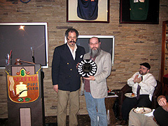 Rick Willoughby accepting his award for the Club's Pipe Man Of The Year Award