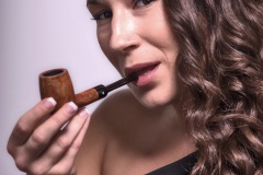 Camae Smokes a Comoy's Tradition Billiard (182)