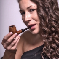 Camae Smokes a Comoy's Tradition Billiard (182)