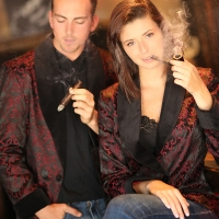 Gabrielle and Ian at Central Cigar in Smoking Jackets