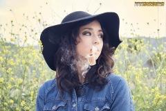 Gina Roode Smoking a Corn Cob Pipe