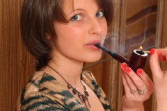Julia Smoking a Kaywoodie London Made Saddle Bit Billiard