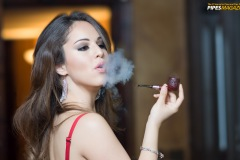 Melania Smoking an Adam Davidson Pipe at Central Cigars