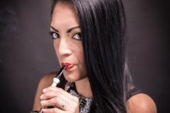 Raven-Haired Beauty Vanessa Smokes a Z. Hamric Acorn-Shaped Pipe