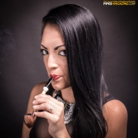 Raven-Haired Beauty Vanessa Smokes a Z. Hamric Acorn-Shaped Pipe