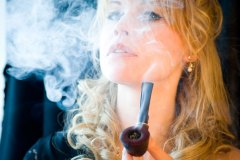 Violet is a Blonde Knockout Smoking G.L. Pease Union Square in a Stanwell Pipe