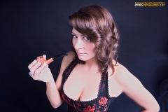Zoie Smoking a Savinelli Spring 626 Bent Apple