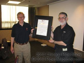 Vernon Vig Presents Frank Burla with Certificate of Appreciation