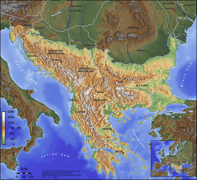 The Highlighted Area is the Balkan Peninsula