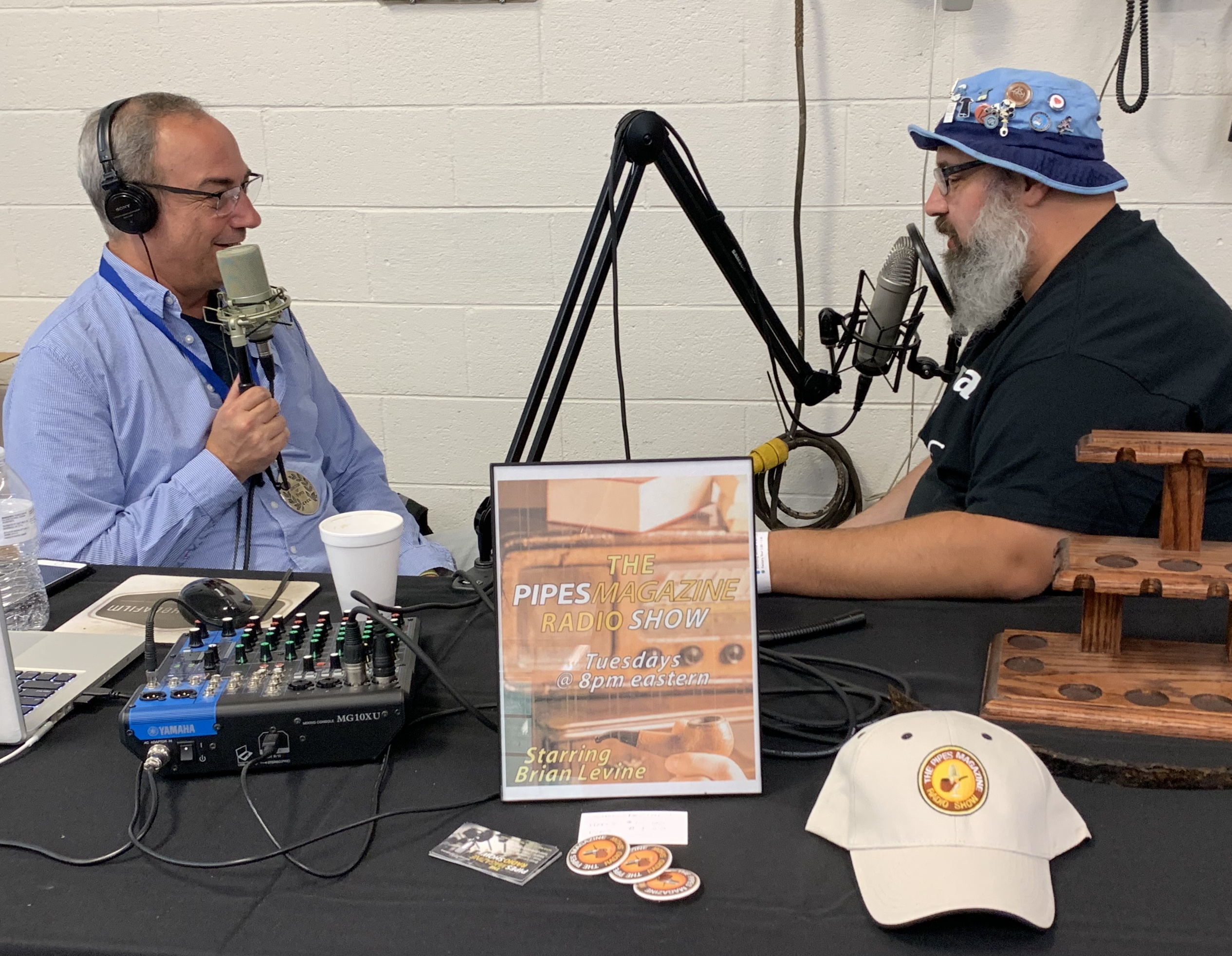 Brian Levine (L) interviews Andre Tessier at the Richmond Show